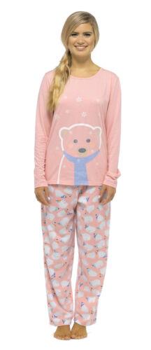 Damen Eisbär Glitzer Aufdruck Weihnachten //Winter Pyjama Set mit Vlies-böden