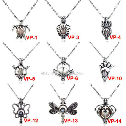 Dragonfly ANCRE DAUPHIN pied Tortue Médaillon Perle cage Collier Inoxydable Chaîne