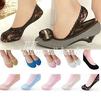 2015 Hot Women's Invisible loafer boat footie peds socks Lace Cotton 10 colours