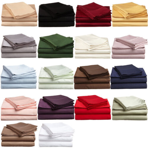 New Branded  Bedding Items 100% Cotton 600 Thread Count Solid Color USA Size