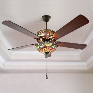 Tiffany Style Ceiling Fan Globe With Light 52 Stained