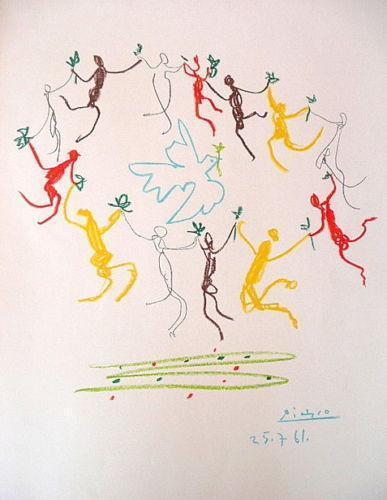 PABLO PICASSO La Ronde au Tour de Colombe 1961 Original Lithograph PROVENANCE