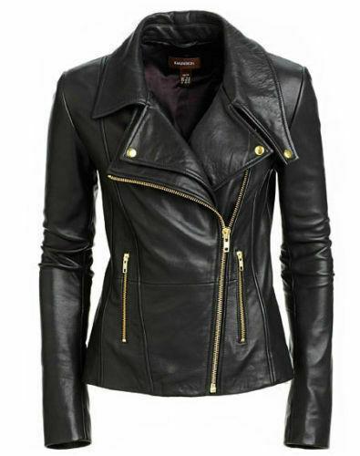 Black Women's Slim Fit Biker Style Cafe Racer Real Leather Jacket