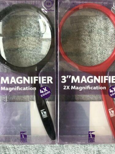 """Grand Point Light Portable 3/"""" Handheld maginifier noir ou rouge"""