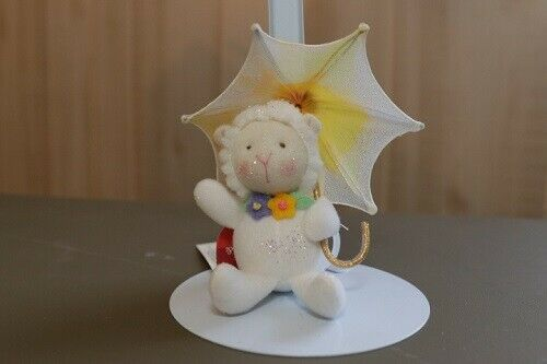 Russ Flutter Bunnies /& Friends Lamb w//yellow umbrella Ornament//Decoration