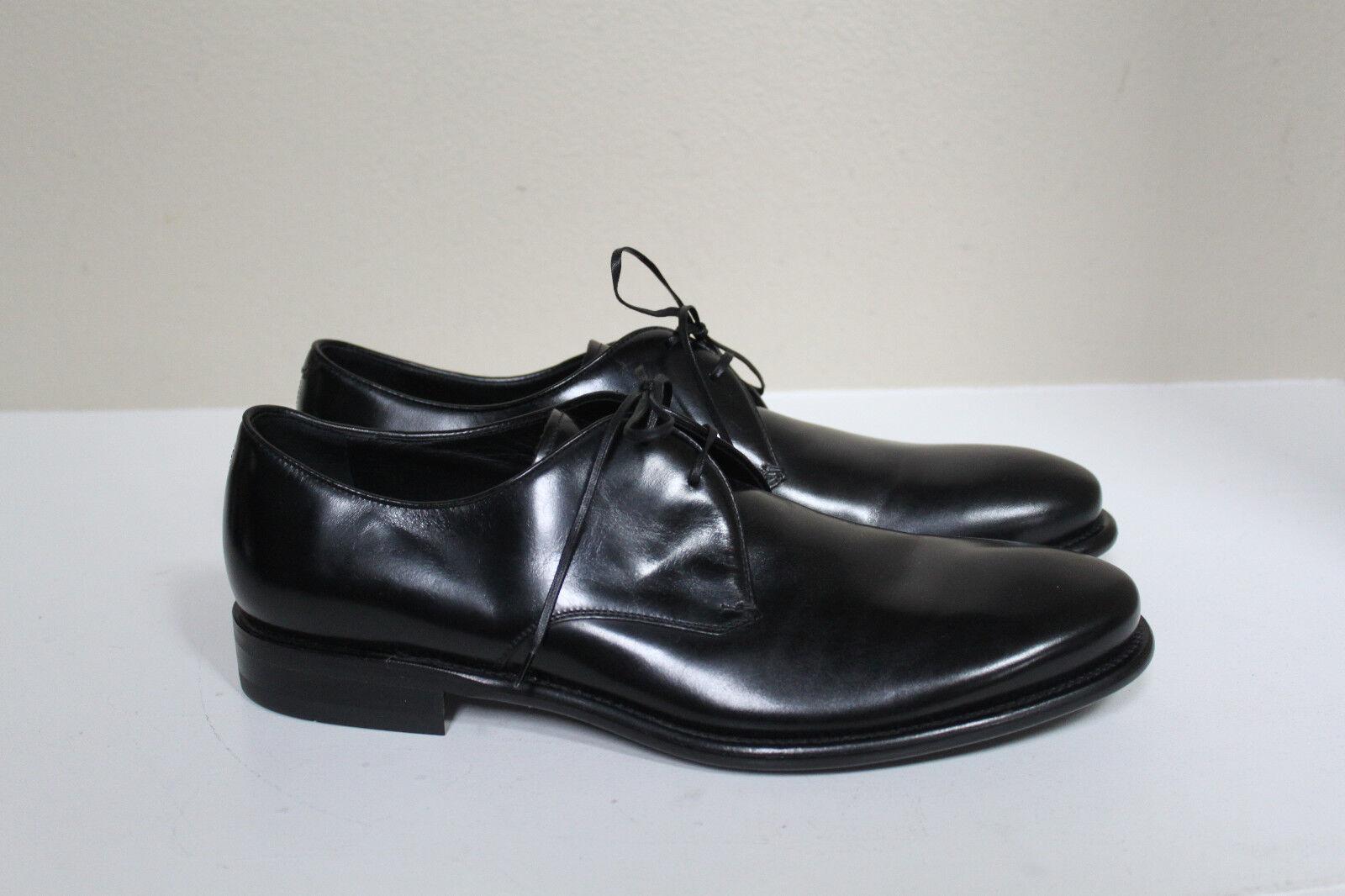 Nouveau sz 9.5 D Salvatore Ferragamo Stefano Plain Toe Derby Cuir Noir Hommes Chaussures
