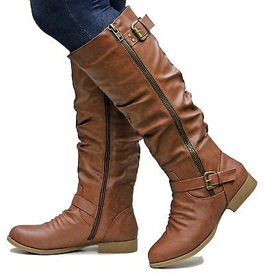 New Women TL11 Tan Black Riding Knee High Boots sz 5 to 10