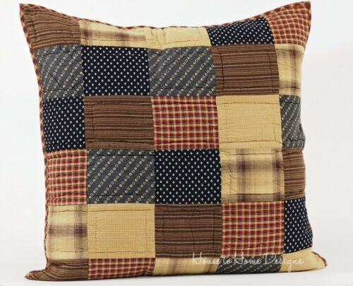 PATRIOTIC PATCH QUILTED EURO SHAM PRIMITIVE RED RUSTIC RED BLUE PILLOW COVER