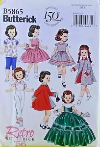New-Butterick-B5865-Retro-039-56-Doll-039-s-Clothes-Dress-Cape-Jacket-Blouse-Overalls