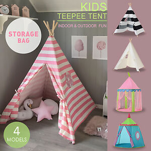 Large Pink Princess Girl Teepee Cotton Canvas Kids Play Tent Toy ...