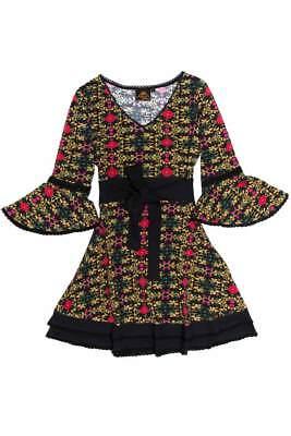 Chapati Kleid Tunika schwarz bunt L Hippie goa Bio Cotton ...