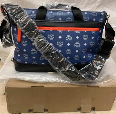 MCM große Estate Blau Visetos Leder Umhängetasche Crossbody Purse Retail $895 | eBay