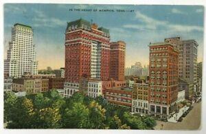 Postcard-Heart-Of-Memphis-TN-Skyline-Street-View-Buildings-Tennessee-Linen-1930s