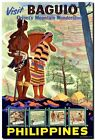 """Vintage Illustrated Travel Poster CANVAS PRINT Philippines Baguio 8""""X 10"""""""