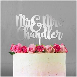 PERSONALISED-Wedding-Cake-Topper-ANY-SURNAME-Mr-and-Mrs-Cake-Decoration-Keepsake
