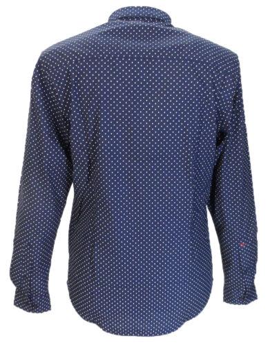 Sleeved Merc Pindot Navy white Button Down Shirts Long Retro Cotton Mod ZXqX7UBr