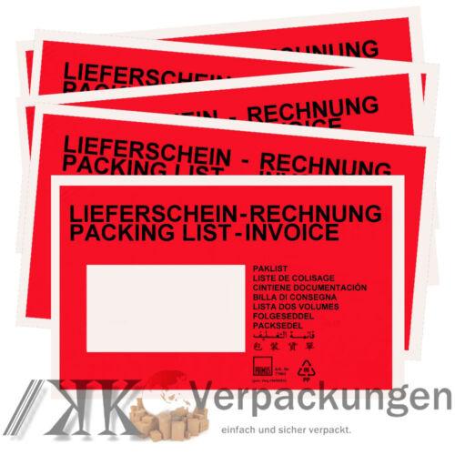 Lieferscheintaschen Din Lang rot Begleitpapiertaschen Dokumententaschen C6
