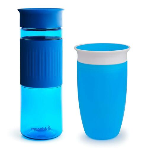 Set Of 2 24 And 10 Ounce Blue Munchkin Miracle 360 Cup Parent And Kid Set