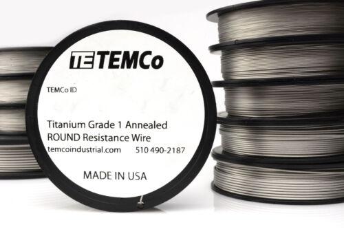 TEMCo Titanium Wire 26 Gauge 50 FT Surgical Grade 1 Resistance AWG ga