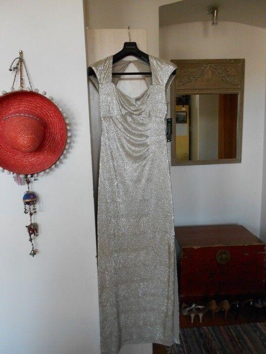 RALPH LAUREN Sparkling Split Side Grey Evening Gown Maxi Dress Size 10UK