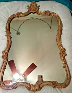 Antique-French-Contoured-Mirror-w-Ornate-hand-carved-wood-frame-34-034-X-22-034