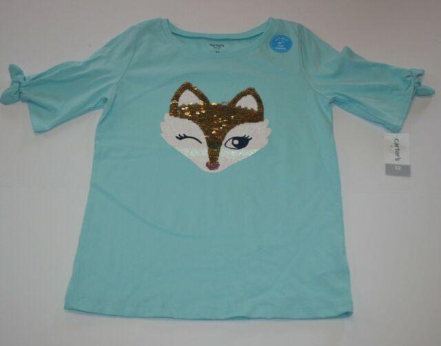 New Carter's Girls 12 year Fox Face Flip Sequin Mint Bow Sleeve Top Shirt