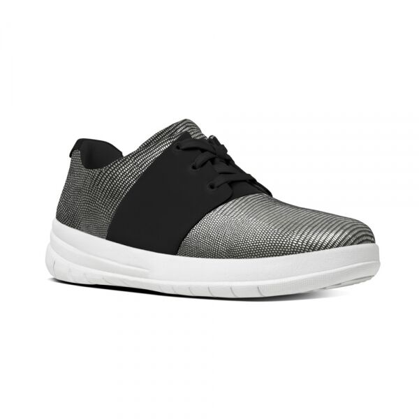 01ea358b9e2 FitFlop Sporty Pop X Lizard Print Sneaker - Black Suede Womens Trainers 7  UK for sale online