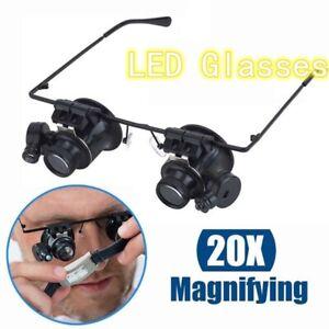 20X-Fach-Brille-Lupenbrille-LED-Lampe-Vergroesserungsglas-Lupe-Uhrmacher-Juwelier
