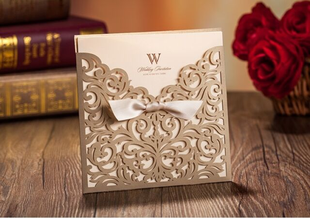 Wedding invitation cards kit CW5011 with envelopes, seals, personalized printing
