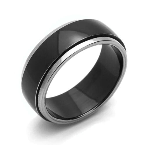 Men Women 8MM Comfort Fit Titanium Wedding Band Beveled Edges Two Tone Ring
