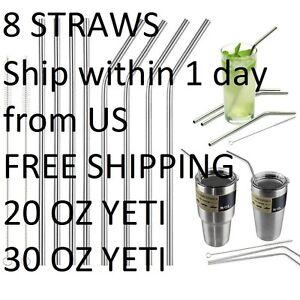 8 Long Reusable Stainless Steel Drinking Straws Metal for 30 20 Oz Yeti Tumbler