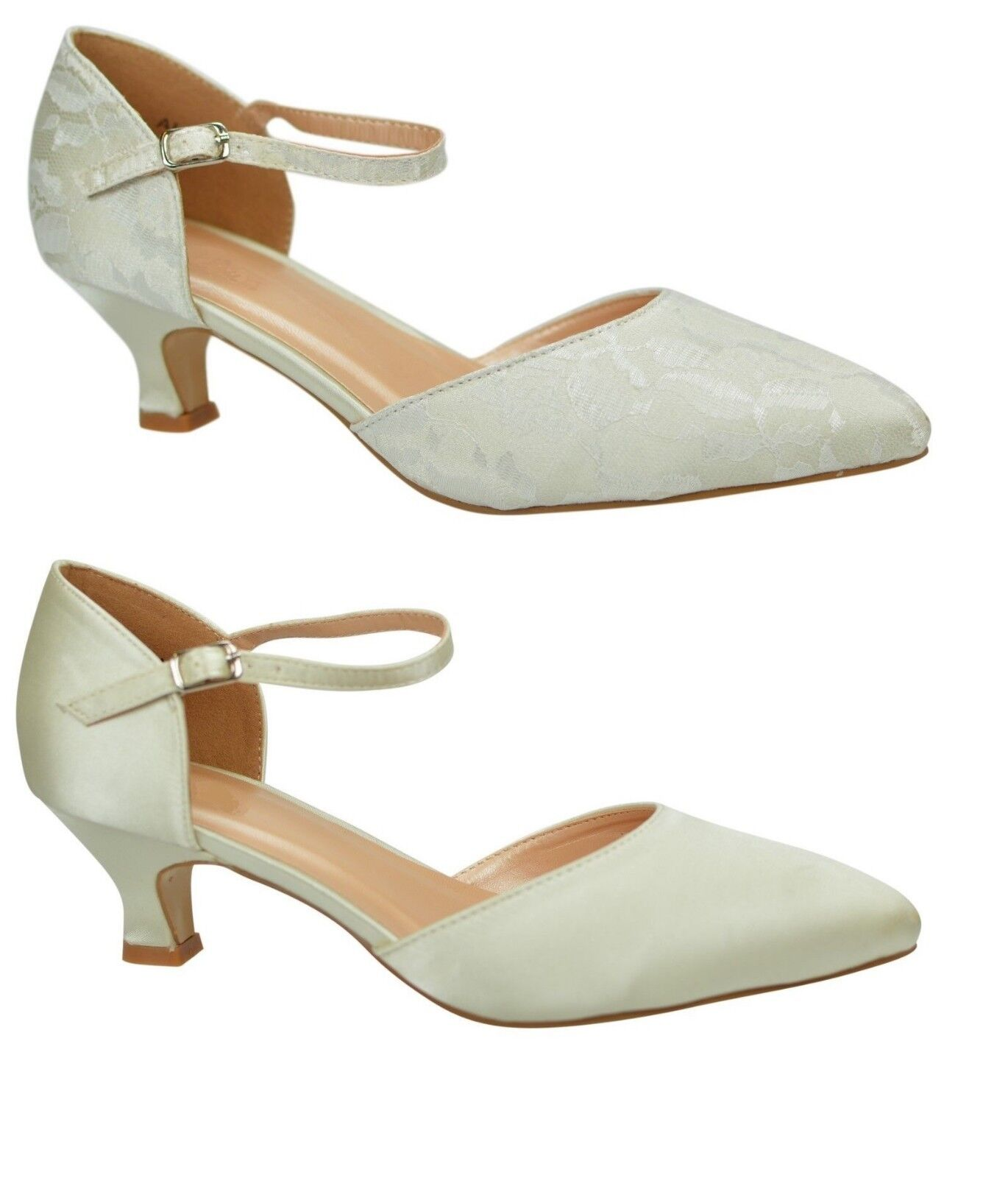 Ivory Wedding shoes Low Heel Satin Or Lace Ankle Strap Court Size 3 - 9 UK