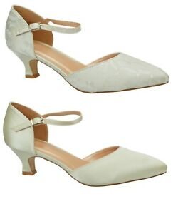 Ivory Wedding Shoes Low Heel Satin Or Lace Ankle Strap Court Size
