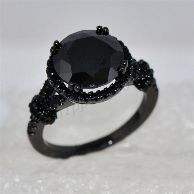Jewellery Black Sapphire CZ Gem Women's Black Gold Filled Wedding Ring Size 5-10