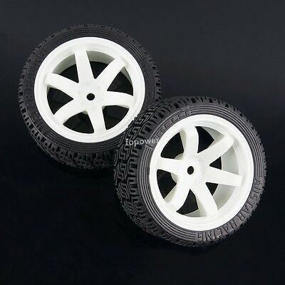 4PC RC HSP HPI Rally On-Road Car Rubber Sponge Tyre Tires Plastic Wheel 702-8015