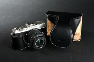 Handmade Genuine real Leather Half Camera Case bag cover for Olympus E-P5 EP5 Black Bottom opening Version