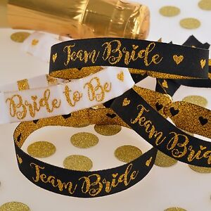 TEAM-BRIDE-HEN-PARTY-WRISTBANDS-Black-Gold-Accessories-Party-Bag-Fillers