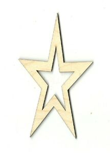 Star - Unfinished Laser Cut Out Wood Shape Craft Supply BSC2