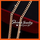 9K ROSE GOLD FILLED 2MM CURB LINK CHAIN SOLID MENS WOMEN NECKLACE XMAS GIFT 45CM