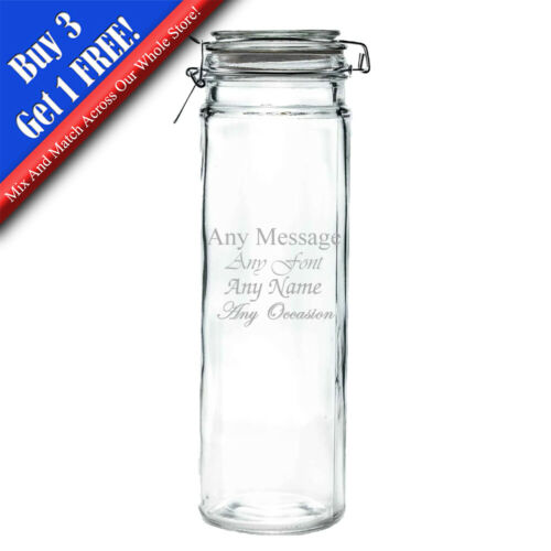 Personalised Engraved 2 litre Spaghetti Jar with clear seal and clip home decor