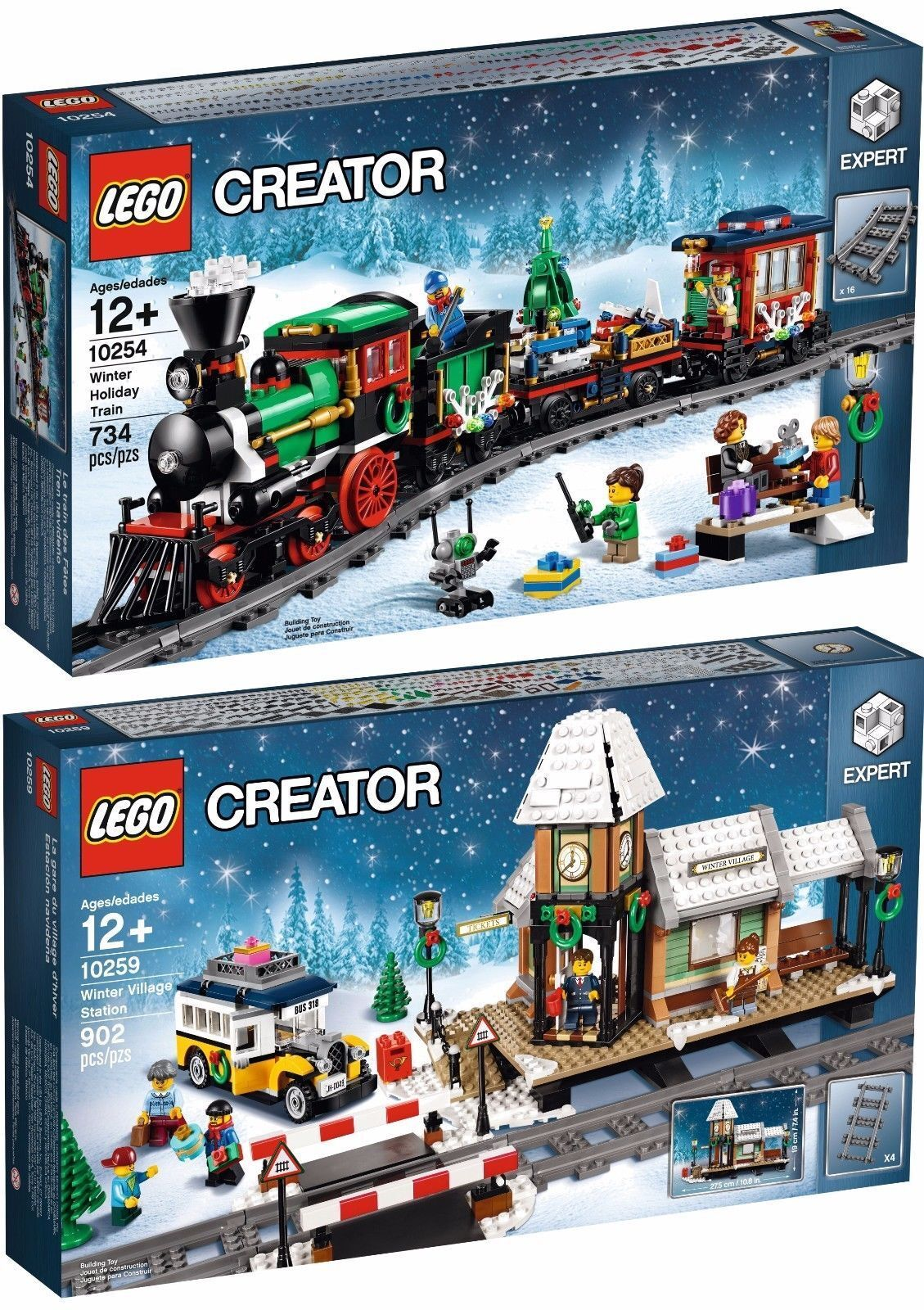 LEGO Winter Holiday Holiday Holiday Train 10254 AND Winter Village Station 10259 - NEW IN BOX d93a01