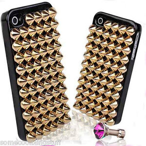 LUXURY-COOL-GOTH-BLING-BLACK-GOLD-STUD-PROTECTIVE-CASE-COVER-iPhone-5-5s-6-6s-7