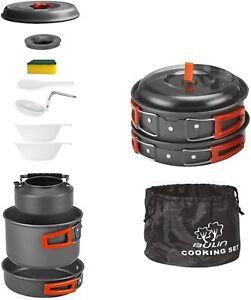 Camping Cookware Mess Kit Nonstick Lightweight Backpacking Cooking Set Outdoor