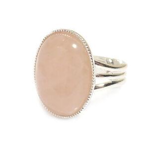 Rose-Quartz-Gemstone-Ring-Semi-Precious-Pink-Oval-Adjustable-18-x-13-mm-Silver