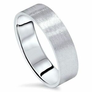 Mens Womens Solid 14k White Gold Satin Brushed Wedding