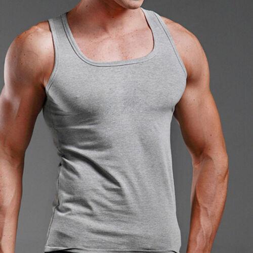 Men Plain T-Shirt Tank Top Muscle Cami Sleeveless Tee Shirt Cotton Blouse Sports