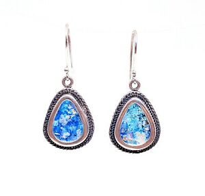 925 Silver Hand Made Tear Drop Pendant Set with  Bluish Roman Glass Fragment