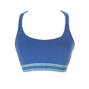 calidad precio competitivo materiales superiores Detalles de Bjorn Borg Mujer Ropa Interior Azul Oscuro con Textura Top  Deportivo Sujetador