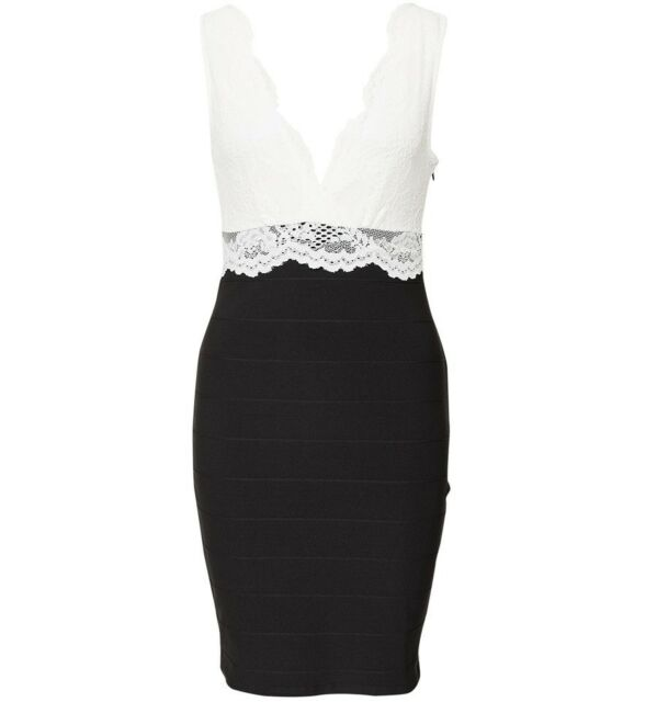 Lipsy Black / White Lace Bodycon Dress 6/8/10/12/16