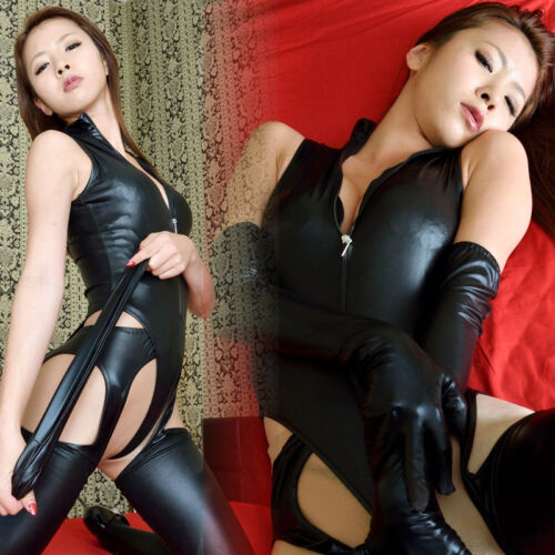 3PCS Leotard Pant+Glove PVC  LEATHER High Cut  Bodysuit  Zipper Club Wear